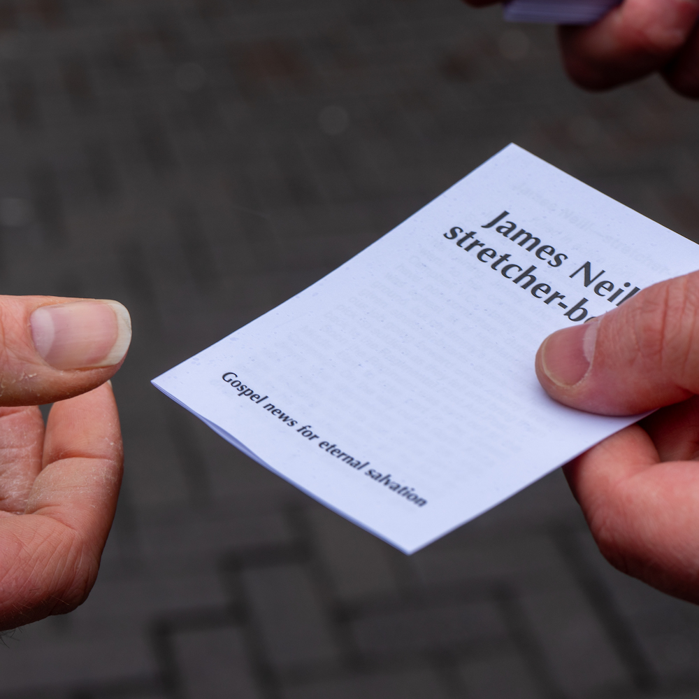 Printed gospel tract given out by Plymouth Brethren street preacher